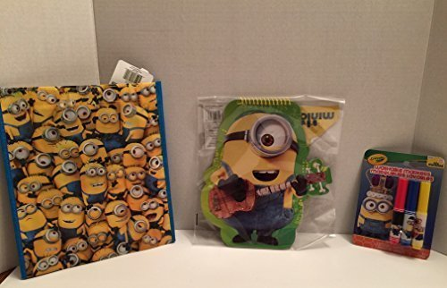 Despicable Me Minion Bag, Minion Notebook, Minion Mini Marker Set, Bundle with 3 Pieces, Great for Kids