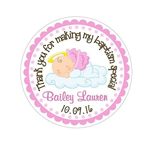 Personalized Customized Baptism Party Favor Thank You Stickers - Our Little Angel Baby Girl - Round Labels - Choose Your Size ()