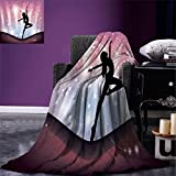 smallbeefly Contemporary Super Soft Lightweight Blanket Silhouette of Ballerina Performing on Abstract Backdrop Magic Dance Fine Arts Oversized Travel Throw Cover Blanket Multicolor