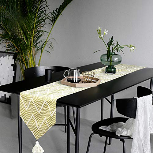KIMODE Chevron Plastic Fringe Table Runner, Geometric Handmade Woven Cotton Canvas Fabric Decorative Table Runners Minimalist for Dinning Decoration Table Home Decor (14 in x 72 in, Yellow) ()