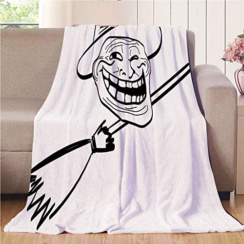 Blanket Comfort Warmth Soft Air Conditioning Easy Care Machine Wash House,Humor Decor,Halloween Spirit Themed Witch Guy Meme Lol Joy Spooky Avatar Artful Image,Black White,47.25