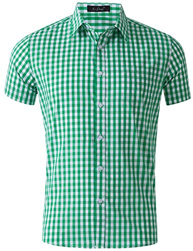 (XI PENG Men's Casual Cotton Plaid Checkered Gingham Short Sleeve Dress Shirts (Green Tartan, XX-Large))
