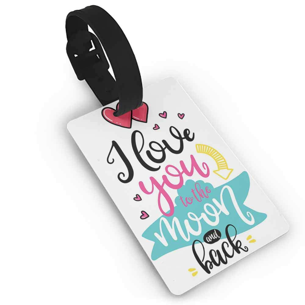Luggage Tags with Privacy Cover,I Love You,Illustration of a Blackboard with Charcoal Written Wording Valentines Heart,Multicolor One Size Straps Suitcase Multicolor