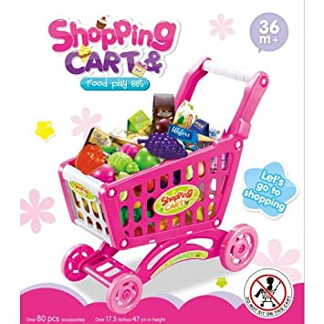 Pink Childrens Shopping Trolley Basket for Toy Shop Kitchen 80pcs Play Food New