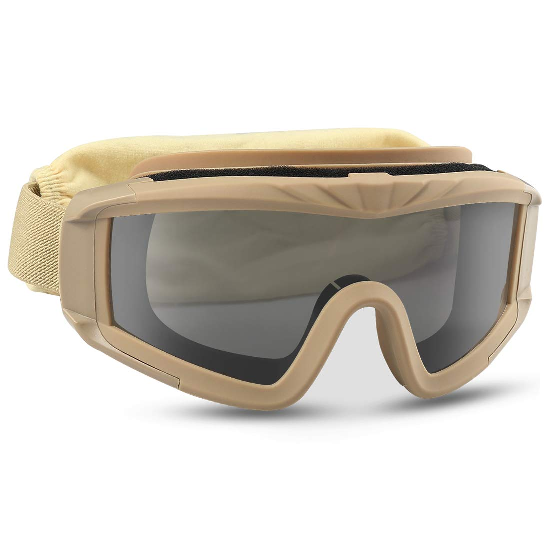 XAegis Airsoft Goggles, Tactical Safety Goggles Anti Fog Military Eyewear with 3 Interchangeable Lens for Paintball Riding Shooting Hunting Cycling - Tan by XAegis