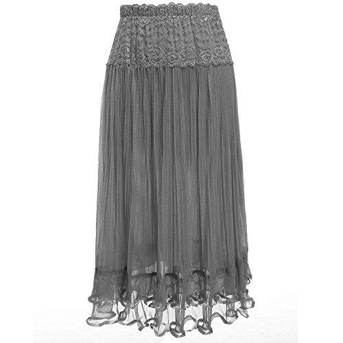 Eshion® Women's Lace Mesh Elastic Waist Half Long Skirt