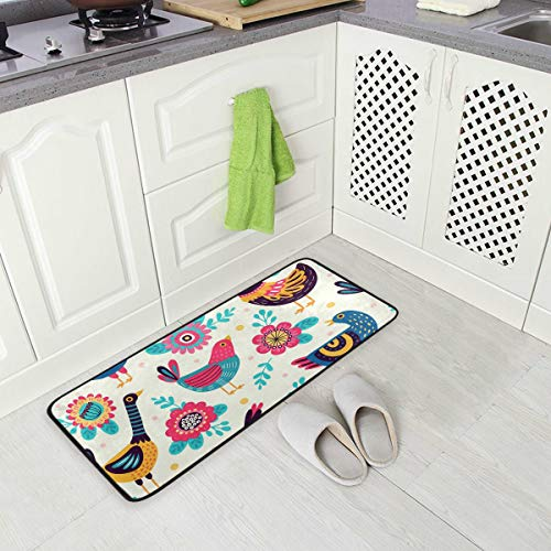 (Cute Animal Chicken Rooster Floral Kitchen Floor Mat, Non-Slip Comfort Office Standing Cushioned Rug Home Decor Indoor Outdoor, 39
