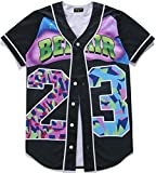 Pizoff Short Sleeve Arc Bottom 3D colorful Number 23' Print Baseball Jersey Shirt Y1724-19-S