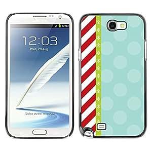 Cubierta de la caja de protección la piel dura para el SAMSUNG GALAXY NOTE 2 / N7100 - candy red white stripes pattern retro