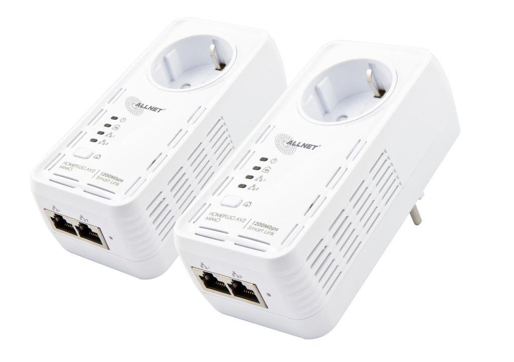 ALLNET ALL1681205DOUBLE Powerline - Juego de adaptadores de corriente (1200 Mbit, Bundle Bridge, RJ45, HomePlugV2, 2 unidades): Amazon.es: Informática