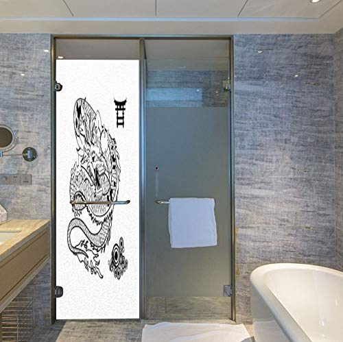 YOLIYANA Privacy Window Film Decorative,Japanese Dragon,for Glass Non-Adhesive,Tattoo Art Style Mythological Dragon Figure Monochrome Reptile,24''x78''