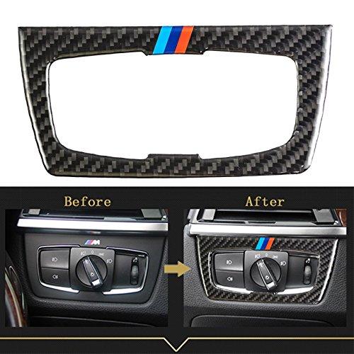M///Color Real Carbon Fiber Headlight Switch Trim sticker For BMW 3 4 Series M3 M4