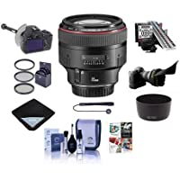 Canon EF 85mm f/1.2L II USM AutoFocus Telephoto Lens USA - Bundle with 72mm Filter Kit, Flex Lens Shade, MkII Focus Calibration System, DSLR Follow Focus and Rack Focus, Cleaning Kit, and More