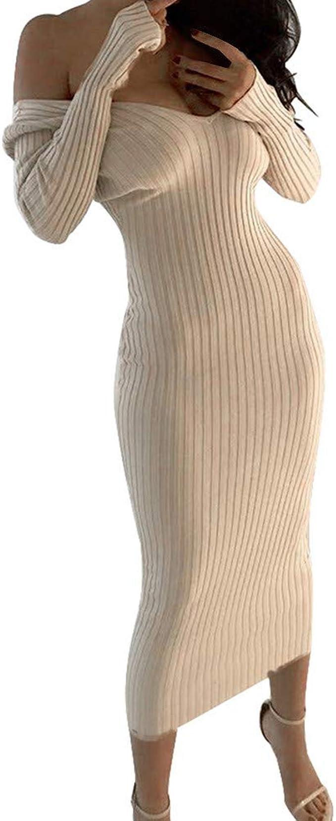 Damen Winterkleid Elegant Schulterfrei Abendkleider Langarm Pullover Kleid  V-Ausschnitt Herbstkleid Strickkleid Slim Maxikleid Bodycon Kleid Lang