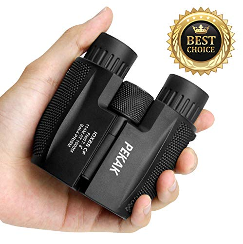 PEKAK 10x25 Small Compact Mini Binoculars for Adults,Portable Pocket Banockulers Waterproof Vinoculares for Hunting Bird Watching Traveling Sports