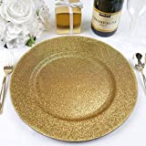 Efavormart 13'' Round Gold Glitter Acrylic Plastic Charger Plates for Table Decor -Set of 6