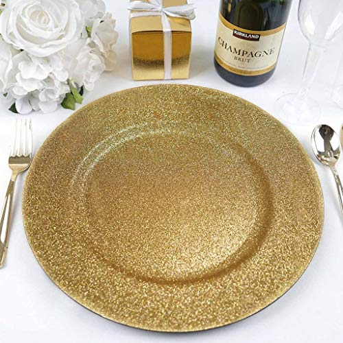Efavormart 13'' Round Gold Glitter Acrylic Plastic Charger Plates for Table Decor -Set of 6 by Efavormart.com