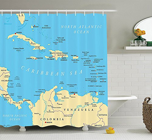 [Wanderlust Decor Collection Caribbean Political Map Capitals National Borders Important Cities Rivers Lakes Image Polyester Fabric Bathroom Shower Curtain Blue] (National Costume Of India Images)