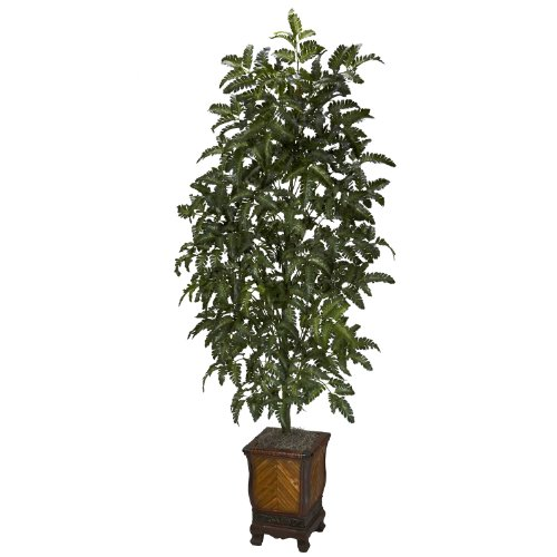 Nearly Natural 6716 Bracken Fern with Decorative Vase Silk Plant, Green