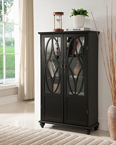 Black Wood Curio Bookcase Display Storage Cabinet With Glass Sliding Doors ()