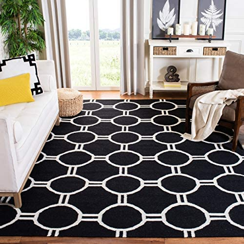 Safavieh Dhurries Collection DHU636A Hand Woven Black and Ivory Premium Wool Area Rug 9' x 12'