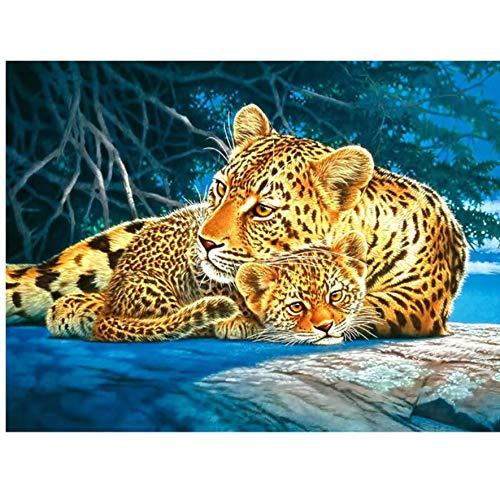 - Full 5D DIY Diamond Painting 3D Diamond Painting Full Round Rhinestones Diamond Painting Embroidery Gold Leopard 30x40 cm
