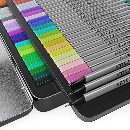 ARTEZA Fineliners Fine Point Pens, Set of 72 Fine Tip Markers with 0.4mm Tips & Sure Grip Ergonomic Barrels, Brilliant Assorted Colors for Coloring, Drawing & Detailing + Sturdy Metal Storage Case by ARTEZA (Image #2)
