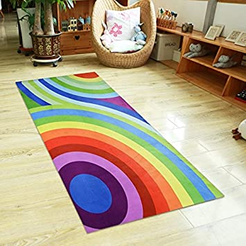 USTIDE Colorful Rainbow Kids Play Carpet Girls Play Rugs Nonslip Area Rugs Soft Children Bedroom Decor Living Room Rugs 4.5ftx6.5ft