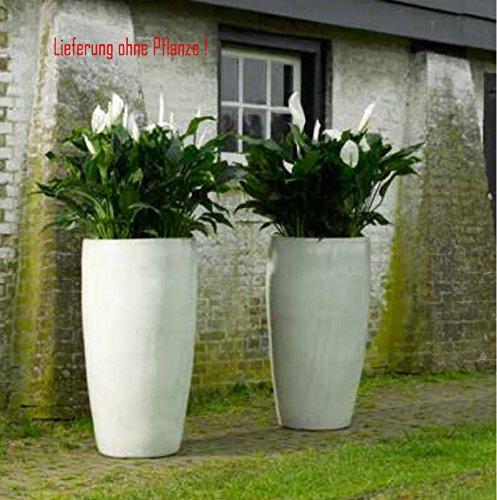 Blumenübertopf Partner aus Keramik, sonnen- und regenbeständig für Innen und Außen, Farbe Weiß Ø 36cm Höhe 70cm