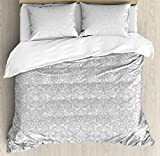 Grey King Size Duvet Cover Set by Ambesonne, Antique Floral Motifs Arabian Islamic Art Patterns in Mod Graphic Design Oriental Boho Deco, Decorative 3 Piece Bedding Set with 2 Pillow Shams, Gray