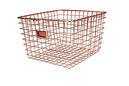 Spectrum Diversified Wire Storage Basket, Medium, Copper - Perfect storage solution for any room in the home Open design lets you easily view everything in the basket The convenient label holding plate lets you easily label the basket's content - living-room-decor, living-room, baskets-storage - 513iG%2B8twrL -