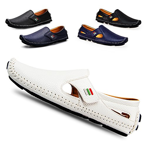 Men s Penny Loafers Driving Shoes Casual Leather Stitched Loafer Shoes(White  ... ab60dbf38
