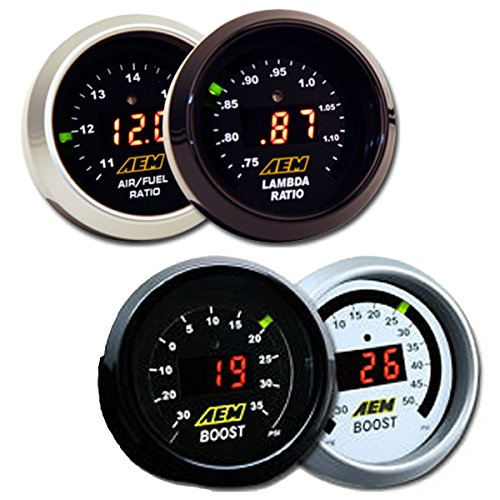 AEM 2 Gauge Display Set - UEGO WideBand A/F Ratio Gauge (30-4110) + Boost Pressure Gauge (30-4406)