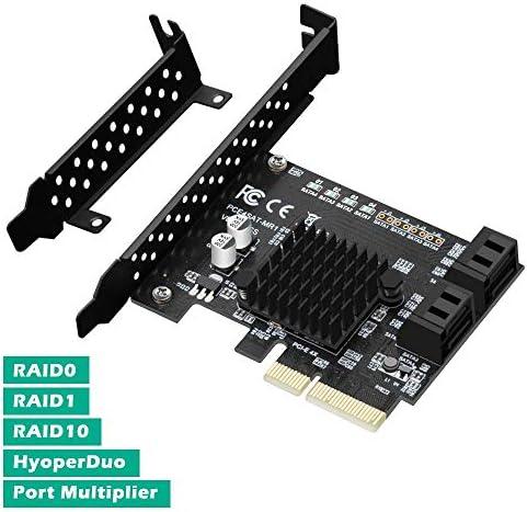 BEYIMIE PCIe SATA RAID Karte 4 Port, PCI Express SATA Controller Erweiterungskarte, 6Gbit/s SATA 3.0-PCIe-Karte,Unterstützung unterstützt RAID 0,1,10,HyperDuo-SSD (Marvell 88SE9230)