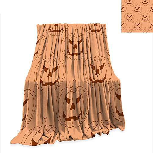 Print Artwork Image Flannel Throw Blanket Halloween Pumpkin Seamless Pattern Orange Background 70