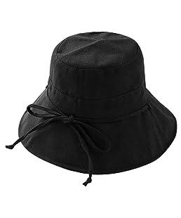 Dasior Women's UV Protection Sun Bucket Beach Cap Outdoor Fisherman Bucket Hat Black