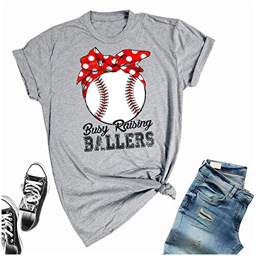 - Rosie The Riveter Busy Raising Ballers Shirts Women Casual Short Sleeve Baseball Mom Tee for Moher's Day (S, Gray1)