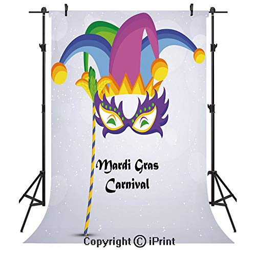 Mardi Gras Photography Backdrops,Mardi Gras Carnival Inscription with Traditional Party Icons Clown Costume Hat Decorative,Birthday Party Seamless Photo Studio Booth Background Banner 5x7ft,Multicolor ()