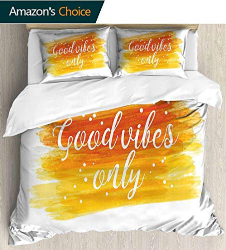 - Good Vibes 3 PCS King Size Comforter Set,Watercolor Art Modern Calligraphy Message Hand Writing Letters and Dots Decorative 3 Piece Bedding Set with 2 Pillow Sham 68