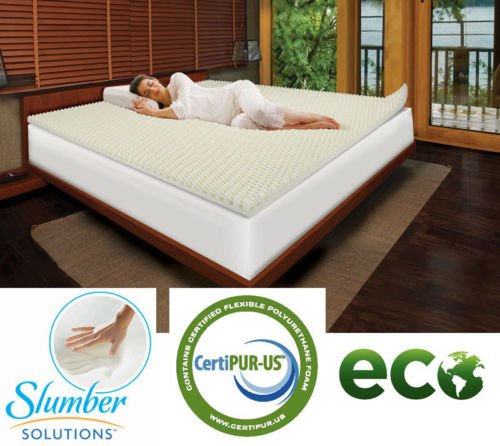 Queen Size Slumber Solutions Highloft Eco Cool 2-inch Best Memory Foam Bed Mattress Topper with PostureFoam Pads Extra Comfort Air Flow Technology, Antimicrobial, Hypoallergenic, Beds Bugs Resistant, Pillow Soft Stay Cool Matress Padding Layer. (Bed Padding Queen)