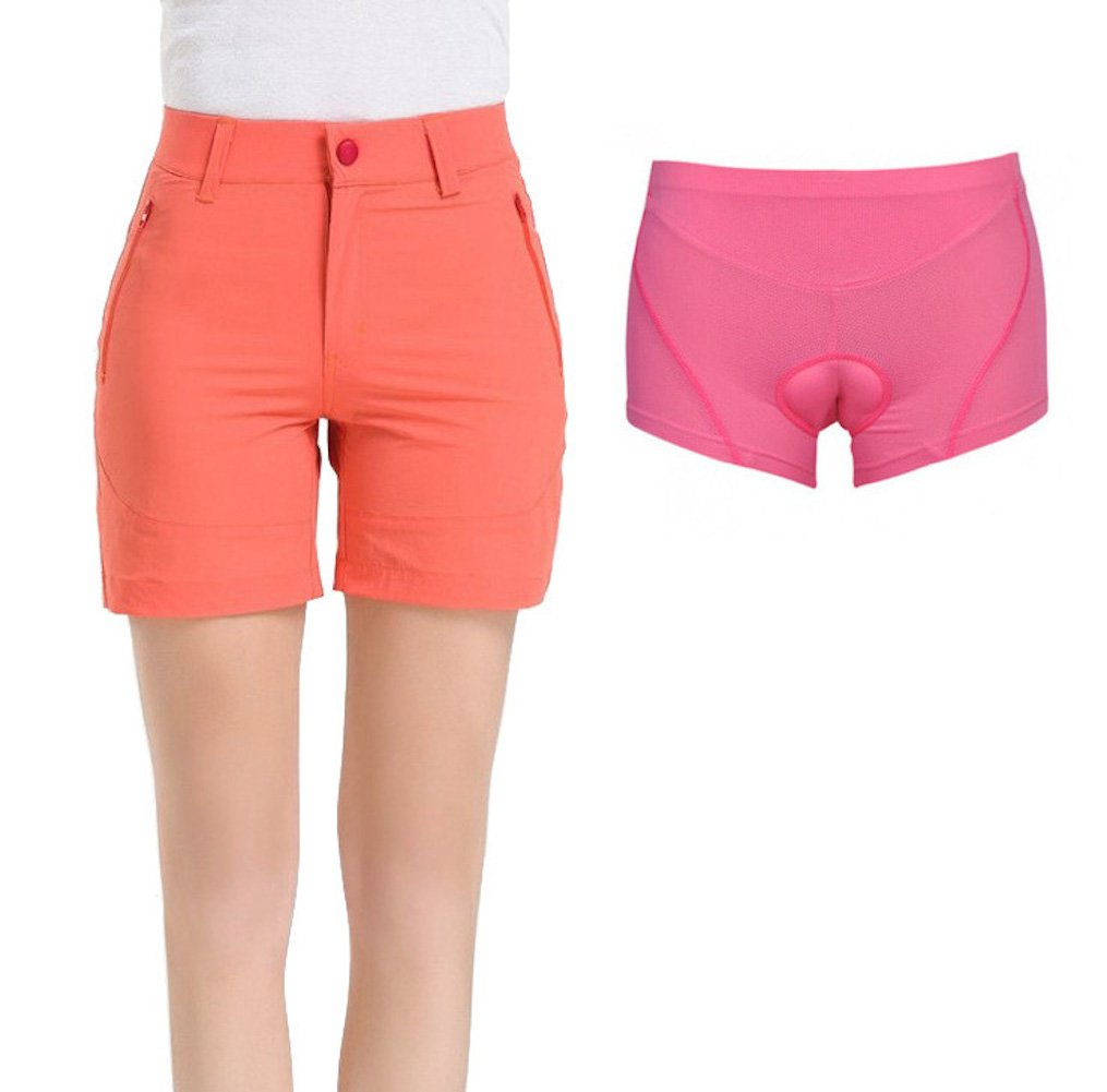 Urban Cycling Apparel SHORTS レディース B07CRY89QN Small|Peach With Padded Underliner Peach With Padded Underliner Small