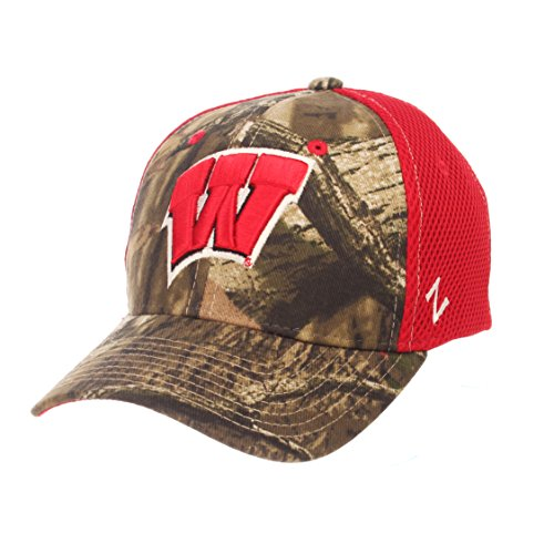 (Zephyr NCAA Wisconsin Badgers Adult Men Terrain Cap, X-Large, Mossy Oak Camo)