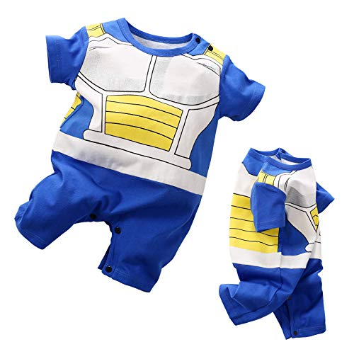 Dragon Ball Z Cosplay Short Sleeve Baby Boy and Girls Vegeta Rompers Costume Jumpsuit Baby Clothes Blue -
