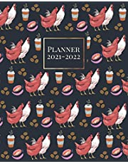 Planner 2021-2022: Two Year Monthly Calendar Organizer 24 Months January 2021 to December 2022 with Inspirational Quotes Chicken & Coffee Pattern