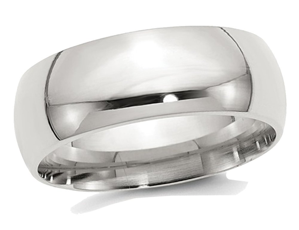 Ladies or Mens Sterling Silver 8mm Comfort Fit Wedding Band
