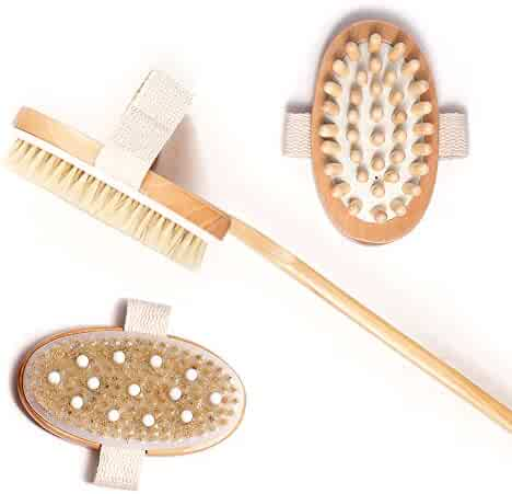 Natural Body Brush & 3 Detachable Heads, Cellulite Massager and Brush with Rubber Nubs