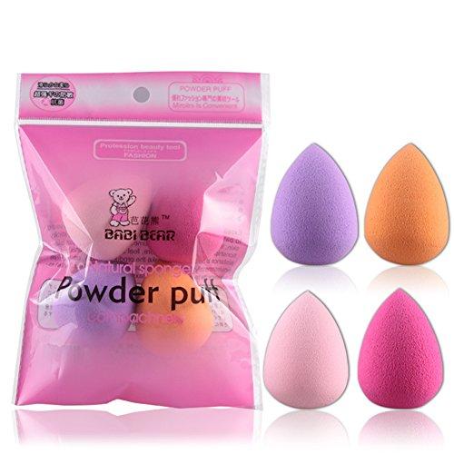 Makeup Beauty Sponges Blender Powder Set for Flawless Liquid Foundation Contour Cream Soft Cosmetic Kit (4pcs, Egg Shaped) by - Face Egg Shape