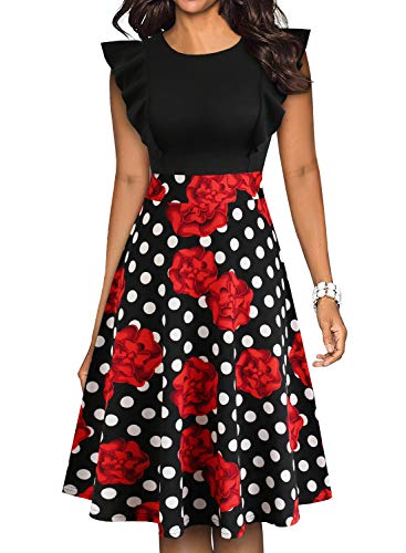 Floral Cocktail Party Dress - YATHON Women's Vintage Ruffle Floral Flared A Line Swing Casual Cocktail Party Dresses (M, YT001-Red Floral 01)
