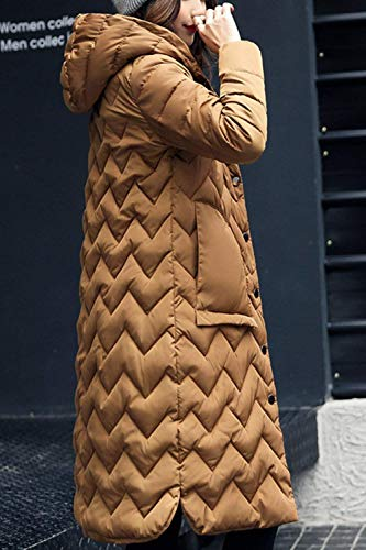 Veste Hiver Ultralight Marron À En Femmes Épaissir Outwear Monochrome Plein Vestes Down Matelassée De Élégant Long Manteaux Mode Manches Capuche Gracieux Air Chaud Emballable tFw5Hqq