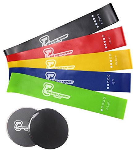 The Body Factory – 5 Resistance Body Bands for Fitness/Abs / Physical Therapy/Stretching – 2 Core Sliders – Dual Sided (Work Smoothly On Any Surface) – Core Strengthening/Glutes / Fat Burning Review